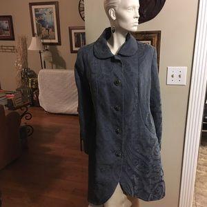 Merona Bluish Gray Paisley Coat with Jewel Buttons
